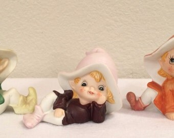 Playful Elf, Elves Vintage Homco Figures from the 1970 - Set of 3  #5213 Original Tags Excellent Condition
