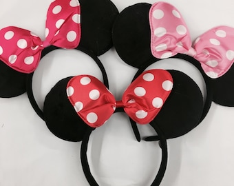 Red/pink bow minnie mouse ears headband / minnie inpried princess bridesmaid/ disney ears headband /pink  Minnie headband/ Disney trip