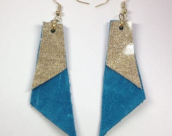 Turquoise gold leather geometric earrings