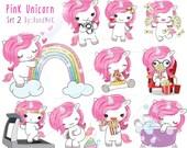 Pink unicorn Set 2 ,Kawaii Unicorn,cute unicorn clipart instant download PNG file - 300 dpi