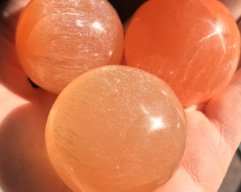 Peach Selenite Sphere