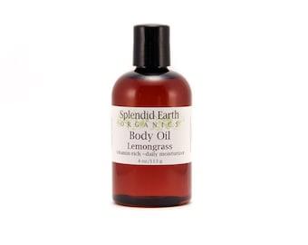 Lemongrass Body Oil -   ON SALE  - Organic Body Oil,  Antioxidants,  Bath Oil, Moisturizing Body Oil