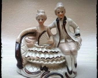 Vintage figurine ,Baroque couple china figurine ,Hand painted figurine,Porcelain figurine, ceramic figurine,Antique figurine,