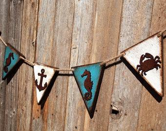 Beach Decor Banner Wall Hanging  Wall Pennant Banner Nursery Decor Wood Anchor Sign Coastal Decor Bathroom Beach Decor Nautical Wall