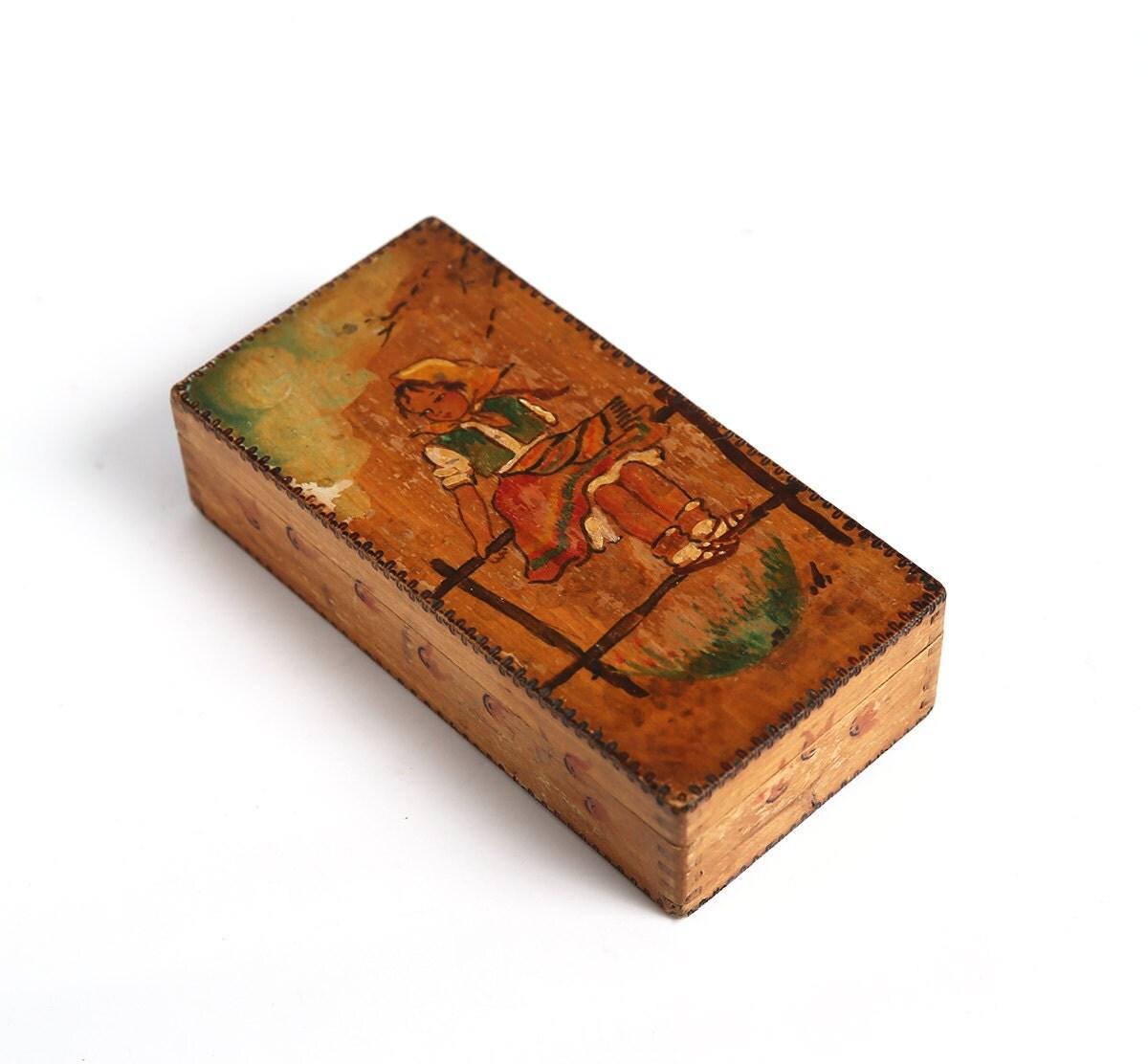 Vintage handmade wooden box case vintage jewelry by for Handmade wooden jewelry box