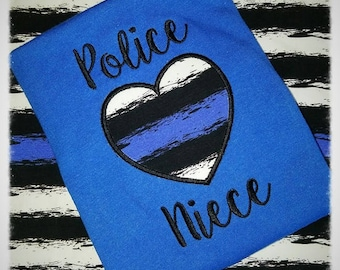 Police Niece - Blue Line - Heart - Applique - Police - Law Enforcement - 3 Sizes Included - Embroidery Design -   DIGITAL Embroidery DESIGN