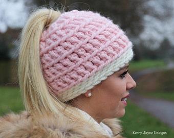 Messy Bun hat pattern  'Love it' Messy Bun Hat Toboggan hat crochet pattern, Pony tail hat crochet pattern, Messy bun beanie - Teen / Adult