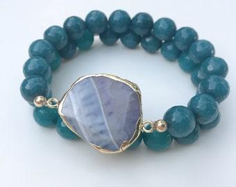 Agate Geode Stretch Bracelets, set of 2