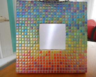 One of a Kind Rainbow Mosaic Mirror, Mosaic Wall Art
