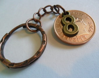 8th anniversary Bronze anniversary 2009 British coin keyring 8th anniversary gift for a man 8th anniversary gift for a woman