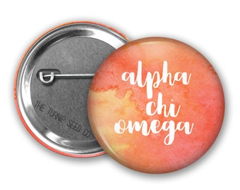 "Alpha Chi Omega Button 2.25"", 1.5"" or 1"" - Single or Bulk (BD074)"