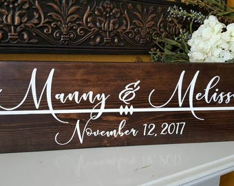 First Names & Heart Arrow Wood Sign - Rustic Wedding Gift Couple Sign - Photography Prop Wood Sign - Engagement Photo- Bridal Sign (2 sizes)