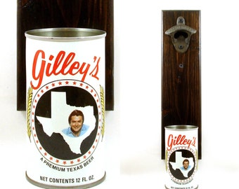 Wall Mounted Texas Beer Bottle Opener With A Vintage Gilley's Beer Can Cap Catcher - Father's Day, Groomsmen, Or Boyfriend Barware Gift Idea