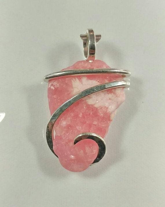 Raw Pink Crystal Necklace | Raw Rhodochrosite Pendant | Raw Stone Pendant | Sterling Silver Pendant | Rhodochrosite Crystal
