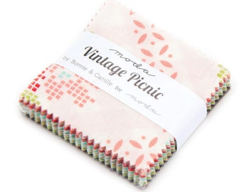 "Vintage Picnic - Bonnie and Camille-  Moda - 42 Pieces - 2 1/2"" Squares - Mini Charm Pack - 55120MC"