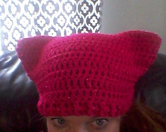 Pink cat hat, crochet pink cat hat, bright pink sparkly pussycat hat, pink women's rights hat, pink cat beanie, women's March hat