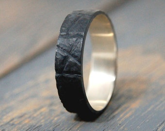 Mens promise ring, promise ring for him, Bark texture rings, Bark ring, Tree Bark Ring, Oxidized dark ring