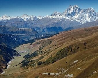 Landscape Photography, Nature Photography, Wall Decor, Georgia, Balkan, Mountain,Sky, Snow, Asia,Europe,Autumn