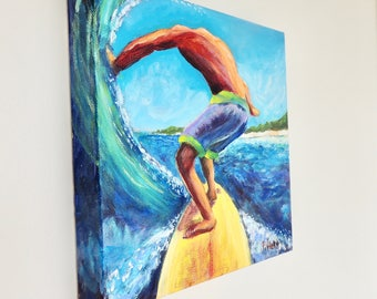 "Surfer painting by Patty Piffath, 10"" x 10"" gallery wrapped canvas painted on all sides.  Original acrylic surf painting.  Blue and yellow."