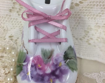 Baby shoe bank pink lavender flowers shabby chic designhand painted on porcelain