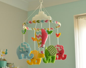 Multicoloured Mobile, Hot Air Balloon, Nursery Mobile, Baby Mobile, MADE TO ORDER
