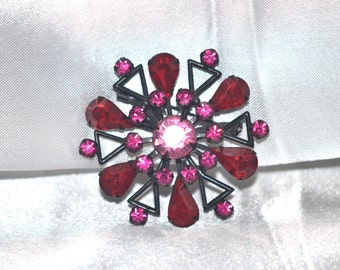 Vintage Brooch Red Rhinestone Japanned Atomic Look Stylized Flower