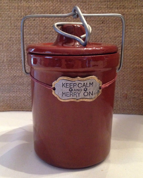 Keep Calm and Merry On Christmas Crock Candle with Wood Wick