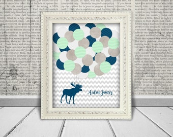 Moose Baby Shower Guest Book Alternative Printable Digital File for Guests to Sign the Balloons  -  Teal, Navy & Gray