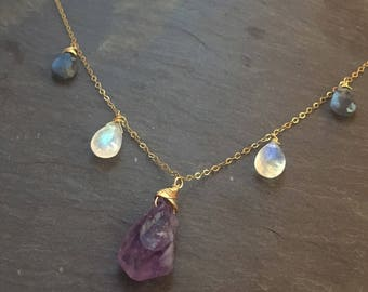 Amethyst Moonstone Labradorite Raw crystal necklace / crown chakra opener gold fill