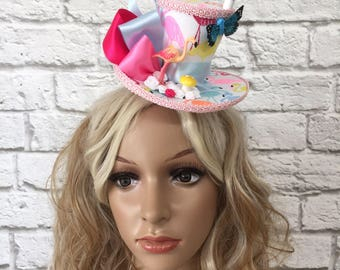 Pink Flamingo Fascinator Mini Top Hat, Alice in Wonderland Mini Top Hat, Mad Hatter Mini Top Hat, Tea Party Mini Top Hat