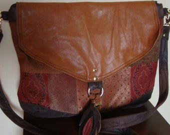 brown recycled leather bag/// upholstery fabric