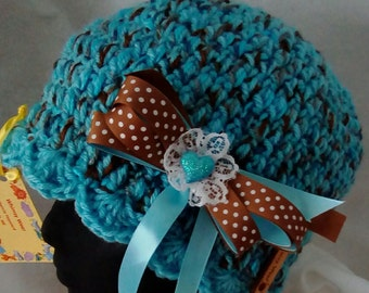 Teal and Brown Beanie