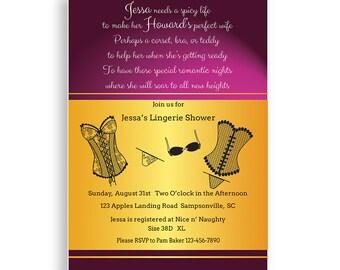 Bridal Shower Invitation Lingerie Shower Invitation Printable