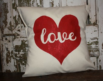 Love  Heart Valentine Pillow Cover, Valentine Throw Pillow, 16x16 Burlap or Canvas
