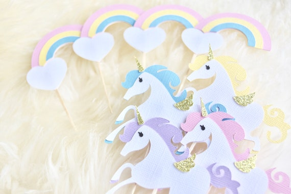 Unicorn and Rainbows cupcake toppers