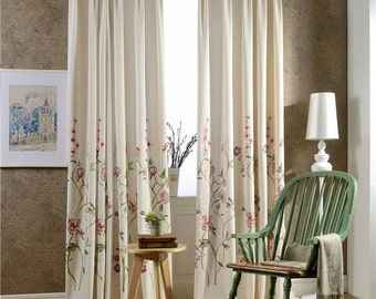 Roselin - Floral vein embroidery linen curtain -Blue branches