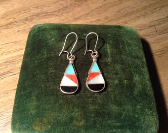 Native American Inlaid Turquoise, Coral and Jet Pierced Earrings