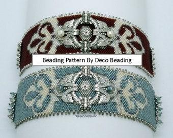"Beading PATTERN. DIGITAL DOWNLOAD. Odd Count Peyote Pattern. Small Peyote Bracelet Pattern. ""Scarlett's"" Embellished bracelet. DecoBeading ."