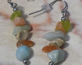 Mixed Jasper Gemstone Chip Earrings on Stainless Steel