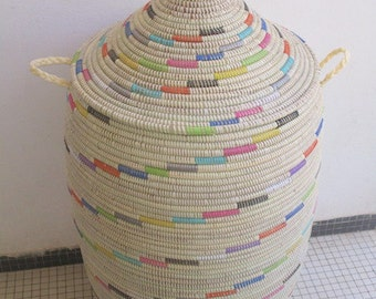 Laundry Basket,Rainbow, Ivory XXL Hamper, Basket African Style, Laundry Room,Handwoven Hamper, Ready to be shipped