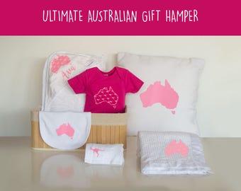 Australian baby hamper, Aussie baby girl hamper, Australian baby girl gift, Aussie baby girl gift, Aussie baby gift basket, kangaroo baby