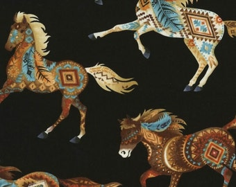 Southwest, Turquoise, Orange, Terracotta, Tan, Brown, Horses with Navaho Designs, Black Background, Timeless Treasures (By 1/2 Yard)