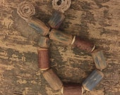 Nature branch beads, bark on and indigo dyed