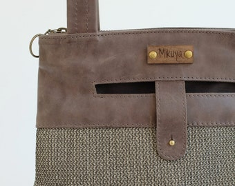Leather Bag, gray leather bag, leather tote, daily bag, gray leather tote, handbags