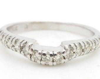 Solid 14K White Gold 0.25cttw G-VS Round Diamond Wedding Band Ring Sz 7; sku # 2563