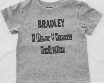 Funny Cute Toddler Personalized Tee Shirt with Parents names added for Production. Personalized Toddler shirt in gray. Second Birthday Shirt