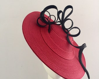 Kentucky derby hat, boater, red hat, races hat, fascinator, Ascot hat, red boater, red Kentuck Derby hat, large hat, modern hat, headpiece