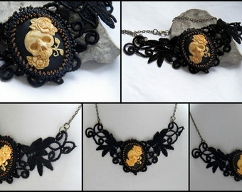 "Necklace cameo ""calavera"" lace black and bronze CO77"