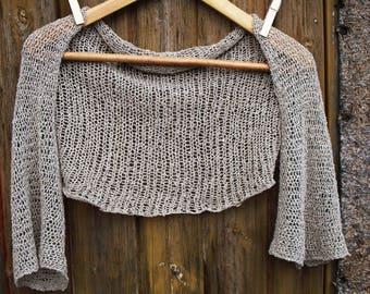 Linen shrug, bolero handknit cotton shrug, summer cotton sweater , linen top, linen bolero, summer top English (US) Description  Optional