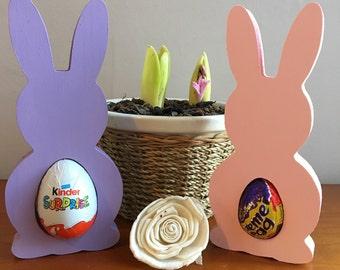 Wooden kinder or creme egg Easter bunny holders